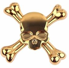 Gold Chrome Skull Crossbones Metal Fidget Spinner Case Box Scary Bones Skeleton