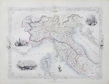 c1854 NORTHERN ITALY Genuine Antique Map by Rapkin FREE POSTAGE WORLDWIDE