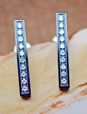 Black Stainless Steel Vertical Earrings Each Studded with 10 .02 ct Diamonds New