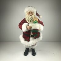 Vintage Christmas Santa Claus Figurine Statue Decoration Puppy In Stocking 11""