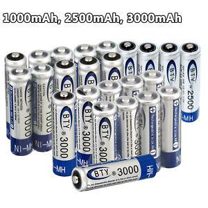 BTY 1.2V AA AAA 1000mAh/ 2500mAh/ 3000mAh Ni-MH Rechargeable Battery USB Charger