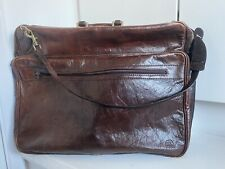 Huge Luxury Principe Italy Chestnut Brown Leather Large Suiting Travel Tote Bag