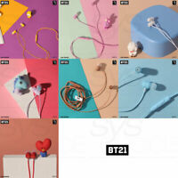 BTS BT21 Official Authentic Goods Wired Earphone with Remote & Mic +Tracking Nu