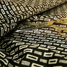 New Geometric Bricks Pattern Black Brown Cream Soft Velvet Upholstery Fabrics