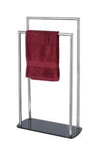 WENKO RAVINA Edelstahl Handtuch Ständer Halter Stangen freistehend Bad WC Wäsche