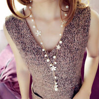 Fashion Elegant Women's Pearl Flower Sweater Long Chain Pendant Necklace Jewelry