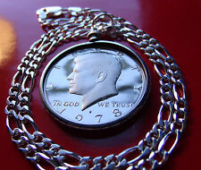 "1978 Proof Kennedy Half Dollar on a 16"" Classic Italian 5mm wide Silver Chain."