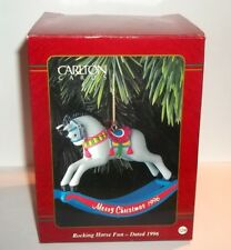 1996 ROCKING HORSE FUN Carlton Cards Dated Christmas Ornament #124 Mint in Box