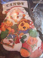 VTG/New J.P. Coats Felt Christmas Stocking Kit &Iron Transfer #28134 SANTA PALS