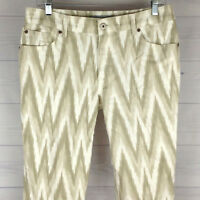 Chico's Platinum Exotic Womens Size 1 = 8/10R Stretch White Taupe Cropped Jeans