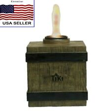 """New listing Tiki 7"""" Clean Burn Fire Crate Resin Table Light Torch Brown Mission Style"""