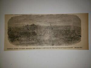 Battle of Ball's Bluff General Banks Division 1881 Civil War Print Sketch