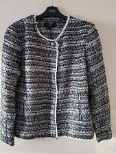 Next Tailoring Black/white Textured Tinsel Collarless Sparkle Blazer Jacket UK16