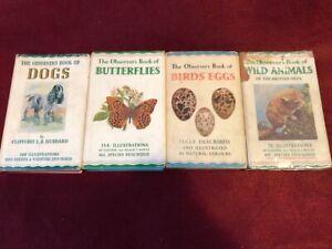4 x OBSERVER BOOKS WILD ANIMALS BIRDS EGGS BUTTERFLIES DOGS