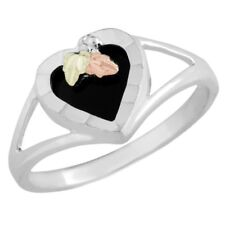 New In Box Landstroms Black Hills Gold Sterling Silver Onyx Heart Ring Size 7