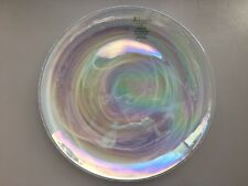 (4) NEW ARTISTIC ACCENTS PEARL WHITE OPAL IRIDESCENT GLASS DINNER PLATES SET