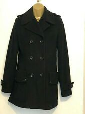 Reiss Wool Cashmere Blend Black Double Breasted Pea Coat Size S