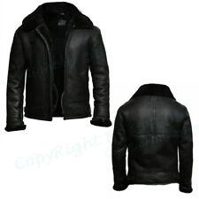 Men B3 RAF Black Flying Aviator Shearling Fur Winter Bomber Real Leather Jacket
