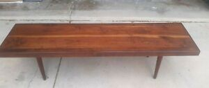 """Excellent 73"""" Mid Century Modern Solid Walnut Coffee Table California Surfboard"""