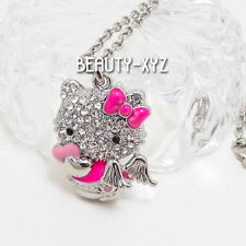 18K White Gold Plated Hello Kitty Angel Rhinestone Crystal Pendant Necklace pink