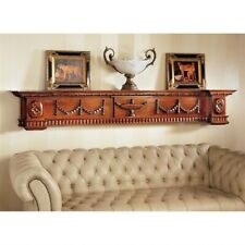 "79.5"" Solid Mahogany Neoclassical Style Wall Pediment Mantle Hand Carved Etagere"