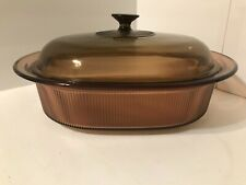 CORNING WARE PYREX VISIONS - AMBER BROWN 4 QT. DUTCH OVEN ROASTER V-34-B