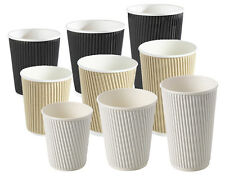 More details for 8/10/12/16oz insulated ripple disposable paper cups coffee, black white or brown