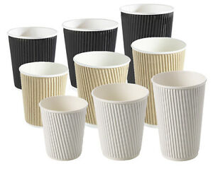 8/10/12/16oz Insulated Ripple Disposable Paper Cups Coffee, Black White or Brown