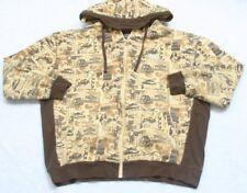XXXL LRG Hooded Sweatshirt Top Yellow Brown Cotton Polyester Men's Zip Front 3XL