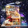 Miniature DIY Dollhouse 3D Doll House Kit Wooden Furnitures LED Light Music Gift