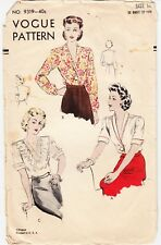 """Vintage Sewing Pattern Ladies' Blouses 1940s Vogue 9319 Size 32"""" Bust WWII"""