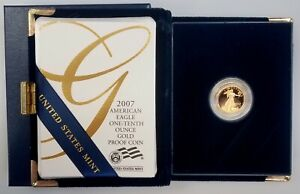 2007 W Proof 1/10 Oz, $5 Gold Eagle w/original box & display case! NO RESERVE!