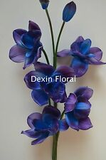 Real Touch Flowers Blue Purple Orchid for Wedding Bouquets Centerpieces