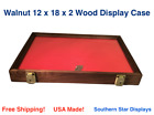 Walnut Wood Display Case 12 x 18 x 2  for Arrowheads Knives Collectibles Coins