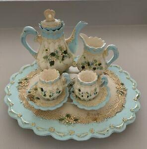 Miniature Tea-set Turquoise & Cream