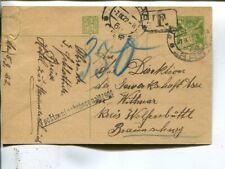 Czechoslovakia postal card to Germany 7.9.1922, infla postage due,corner defect