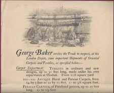 George Baker, London Rug Merchant, Late Nineteenth Century Ad