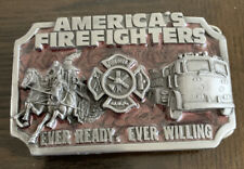 Siskiyou 1983 American Firefighters Pewter Belt Buckle Ever Ready, Ever Willing