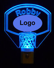 Personalized  Basketball Hoop LED Night Light, Kids Lamp  - with Team Logo