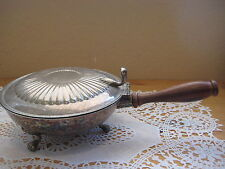 Vintage Silver Plated Footed Silent Butler PM Italy Wooden Handle (Rare)