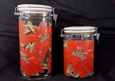 2 Vintage Christmas Glass Canister Lid Ceramic Poinsettia Design oval Shaped set