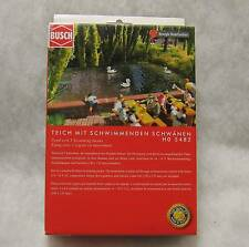 BUSCH 5482 HO GAUGE POND WITH 3 SWIMMING SWANS MOTORISED NEW POST FREE