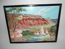 """VINTAGE FRAMED PAINT BY NUMBER PICTURE OF A DEER BY A CREEK - 16 3/4"""" X 12 3/4"""""""