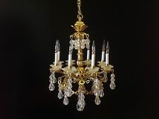 Dollhouse Miniature Handcrafted 8 Arm Crystal Chandelier 12V 1:12 Scale
