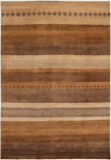 7X10 Hand-Knotted Gabbeh Carpet Tribal Brown Fine Wool Area Rug D35302