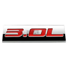 BUMPER STICKER METAL EMBLEM DECAL TRIM BADGE POLISHED CHROME RED 3.0L 3.0 L
