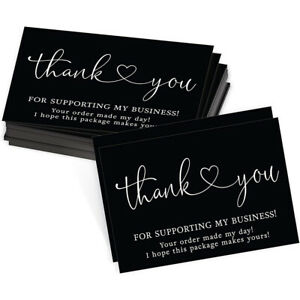 30-150Pcs NEW Black Thank You For Supporting My Small Business Cards 5 Designs