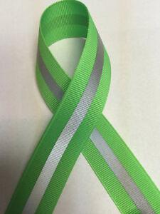 "7/8"" Neon Green - 1/4"" 3M Silver Reflective Stripe Grosgrain Ribbon"