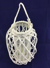 Willow Lantern Lamp Glass Candleholder Rope Handle Wicker Beach