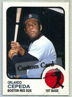 ORLANDO CEPEDA BOSTON RED SOX 1973 STYLE CUSTOM MADE BASEBALL CARD BLANK BACK